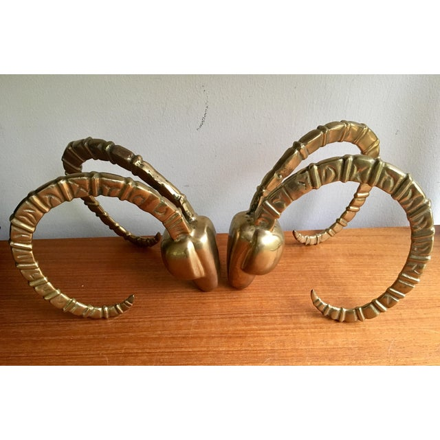 Brass Ram Horn Bookends- A Pair For Sale - Image 4 of 7