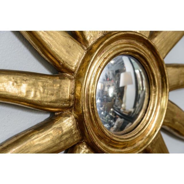 French Giltwood Sunburst Convex Mirror - Image 5 of 10