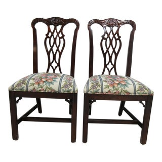 1990s Vintage Custom Mahogany Chippendale Kindel Style Carved Dining Room Dining Chairs - a Pair For Sale