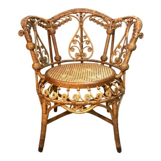 Antique Victorian Stick & Ball Rattan Chair For Sale