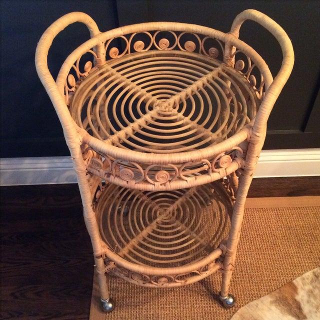 Vintage Bamboo & Rattan Bar Cart - Image 6 of 7