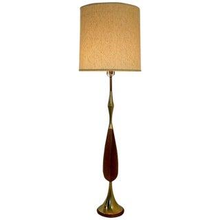 Mid Century Modern Laurel Brass & Wood Floor Lamp W Original Shade 1960s For Sale