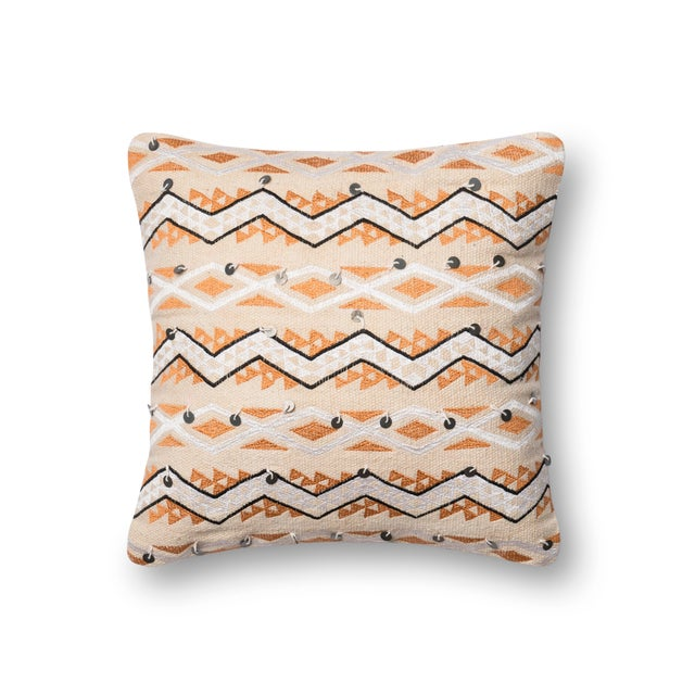 """Contemporary Justina Blakeney X Loloi Orange / Ivory 18"""" X 18"""" Cover with Down Pillow For Sale - Image 3 of 3"""