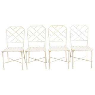 Brown Jordan Calcutta Faux Bamboo Garden Chairs For Sale
