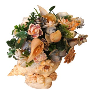 Mid Century Sea Shell Floral Bouquet Set in a Conch Shell For Sale