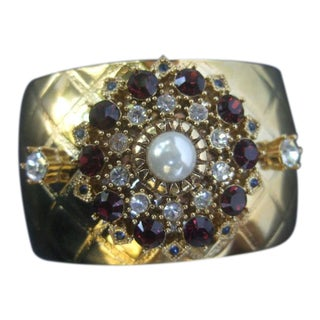 Glittering Crystal Wide Gilt Metal Cuff Designed by Graziano For Sale