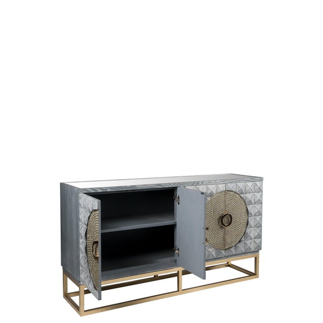 Art Deco Zelda Studded Sideboard-Gray and Gold For Sale - Image 4 of 7