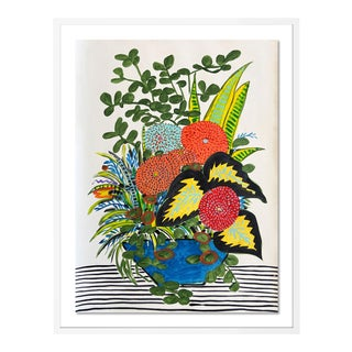 Jungle Bouquet by Jelly Chen in White Framed Paper, Medium Art Print For Sale