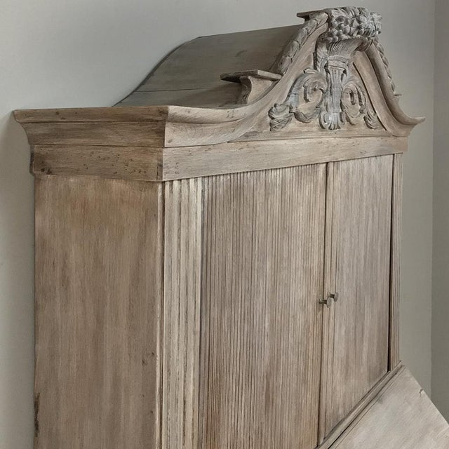 18th Century Dutch Tambour Stripped Oak Secretary ~ Bookcase For Sale - Image 9 of 13