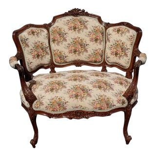 1930s Vintage French Country Provincial Ornate Carved Chair For Sale