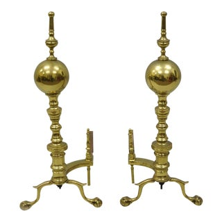 Antique Large Solid Brass Cannonball Branch Foot Ball and Claw Andirons - a Pair For Sale