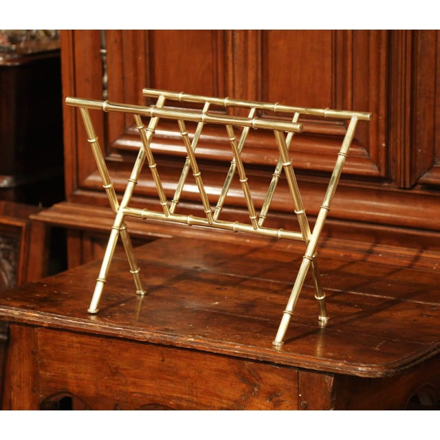 Mid-20th Century French Maison Baguès Bamboo Brass Magazine Rack For Sale - Image 4 of 7