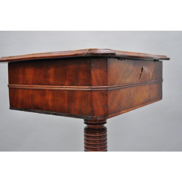 Brown Antique Victorian Sewing Stand Side Table For Sale - Image 8 of 12