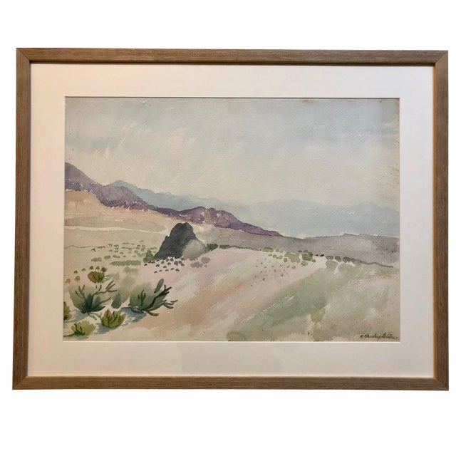 Vintage Desert Landscape Watercolor Painting For Sale