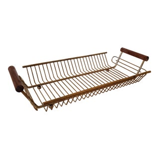 Mid-Century Modern Wire Tray With Teak Handles For Sale