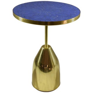 Z-I-III Contemporary Brass Mosaic Side Table, Flow Collection For Sale