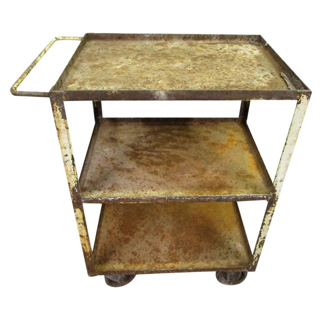 Industrial Rusted Metal Cart For Sale