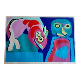 """Child With Pretend Animal"" Signed Limited Edition Karel Appel Lithograph For Sale"