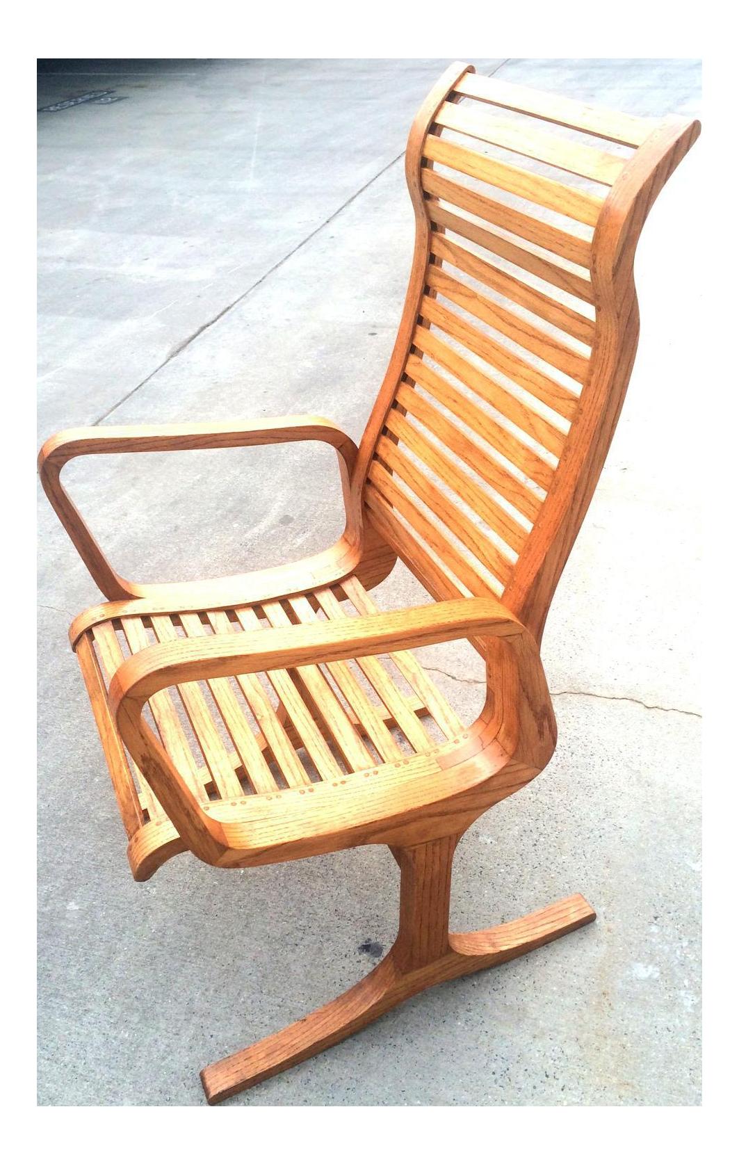 Mid Century Oak Custom Lounge Chair For Sale