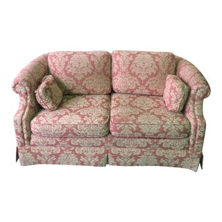 Contemporary Patterned Pink Loveseat For Sale