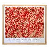 "Image of Cy Twombly Foundation Abstract Expressionist Lithograph Print Framed Exhibition Poster "" Bacchus "" For Sale"