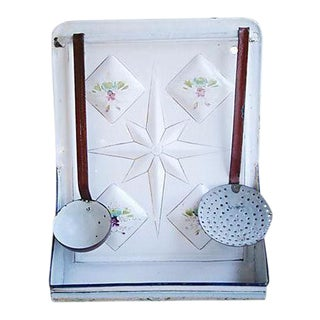 Early 1900s Enameled French Utensil Wall Rack - Set of 3