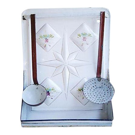 Early 1900s Enameled French Utensil Wall Rack - Set of 3 For Sale