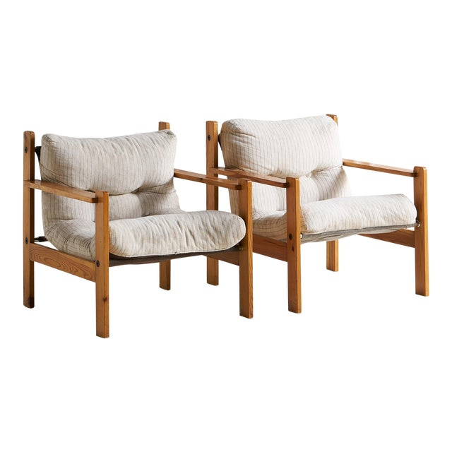 Pair of European Wooden Lounge Chairs For Sale