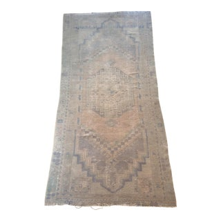 Early 20th Century Antique Faded Oushak Runner Rug - 2′8″ × 5′11″ For Sale