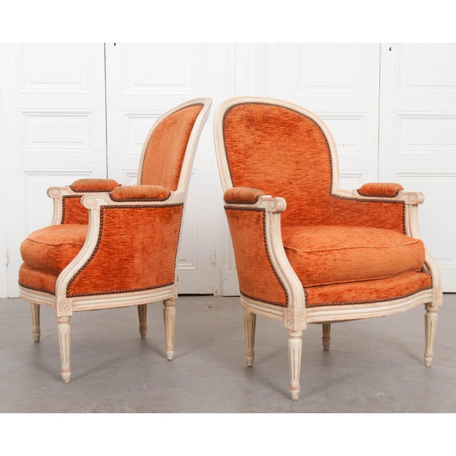 French 19th Century Painted Louis XVI Style Bergères- A Pair For Sale - Image 12 of 13