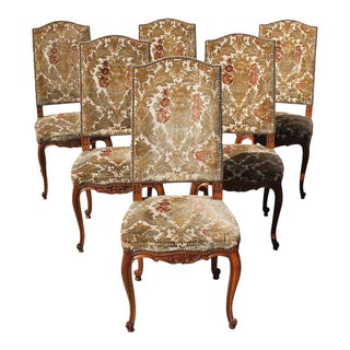 French Louis XV Solid Walnut Dining Chairs Circa 19TH Century - Set of 6