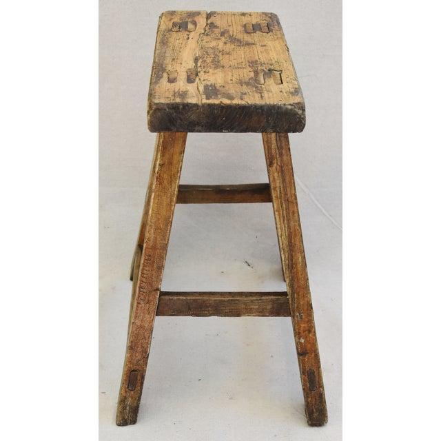 Wood Rustic Primitive Country Wood Farmhouse Stool For Sale - Image 7 of 11