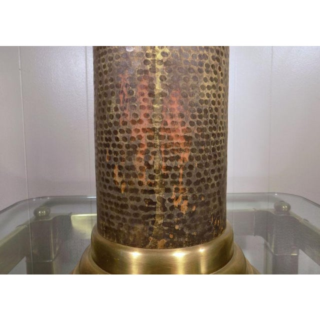 Chapman Brass & Hammered Metal Brutalist Lamp For Sale - Image 11 of 13