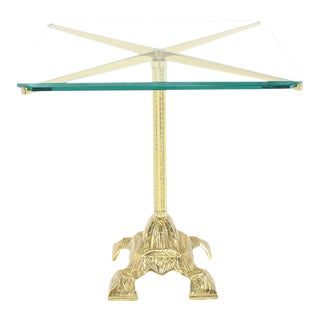 Cast Brass Base and Glass Top Side Table For Sale