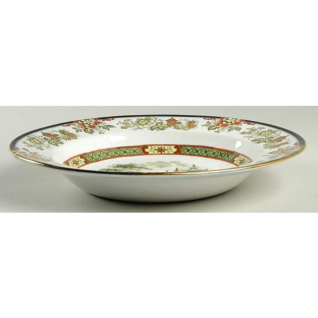 Royal Doulton Madras Rim Bowl Set of 6 features an oriental pagoda scene with rust and green chinoiserie floral accents...