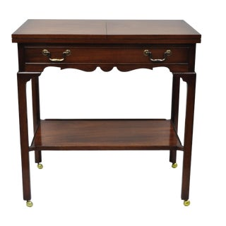 Smith & Watson Solid Mahogany Chippendale Style Flip Top Server Bar Cart