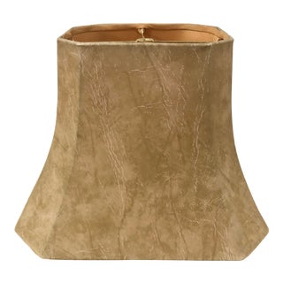 1980s Vintage Leatherette Tan Lamp Shade For Sale