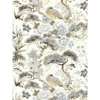 Sample, Scalamandre Shenyang Linen Print Fabric, Parchment Fabric For Sale
