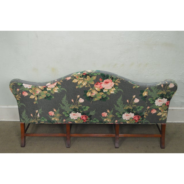 Custom Mahogany Chippendale Style Camel Back Sofa For Sale - Image 4 of 10