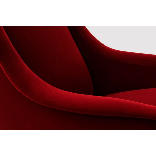 BOND Design Studio Italian Style Sculptural Armchairs in Plush Red Velvet - a Pair For Sale - Image 4 of 6