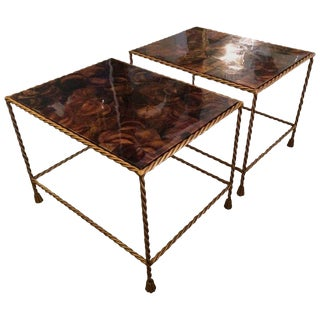 1960s Regency Faux Tortoise Shell Tables - a Pair