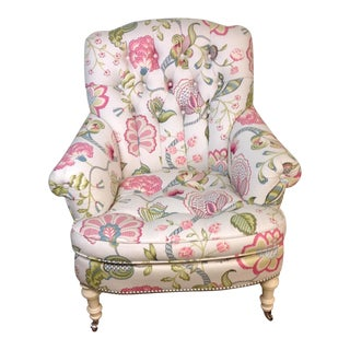 Lillian August Albert Tufted Floral Upholstered Chair For Sale