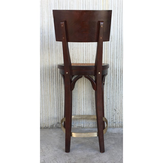 1940s Set of Six Caned Seat and Wood Back Bar Stools For Sale - Image 5 of 13