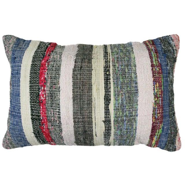 "Cotton Kilim Lumbar Pillow | 16x24"" For Sale"