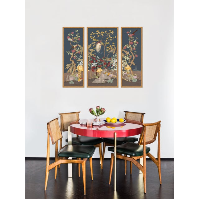 Gold Forest & Pheasants by Allison Cosmos, Set of 3, in Gold Framed Paper, Large Art Print For Sale - Image 8 of 9