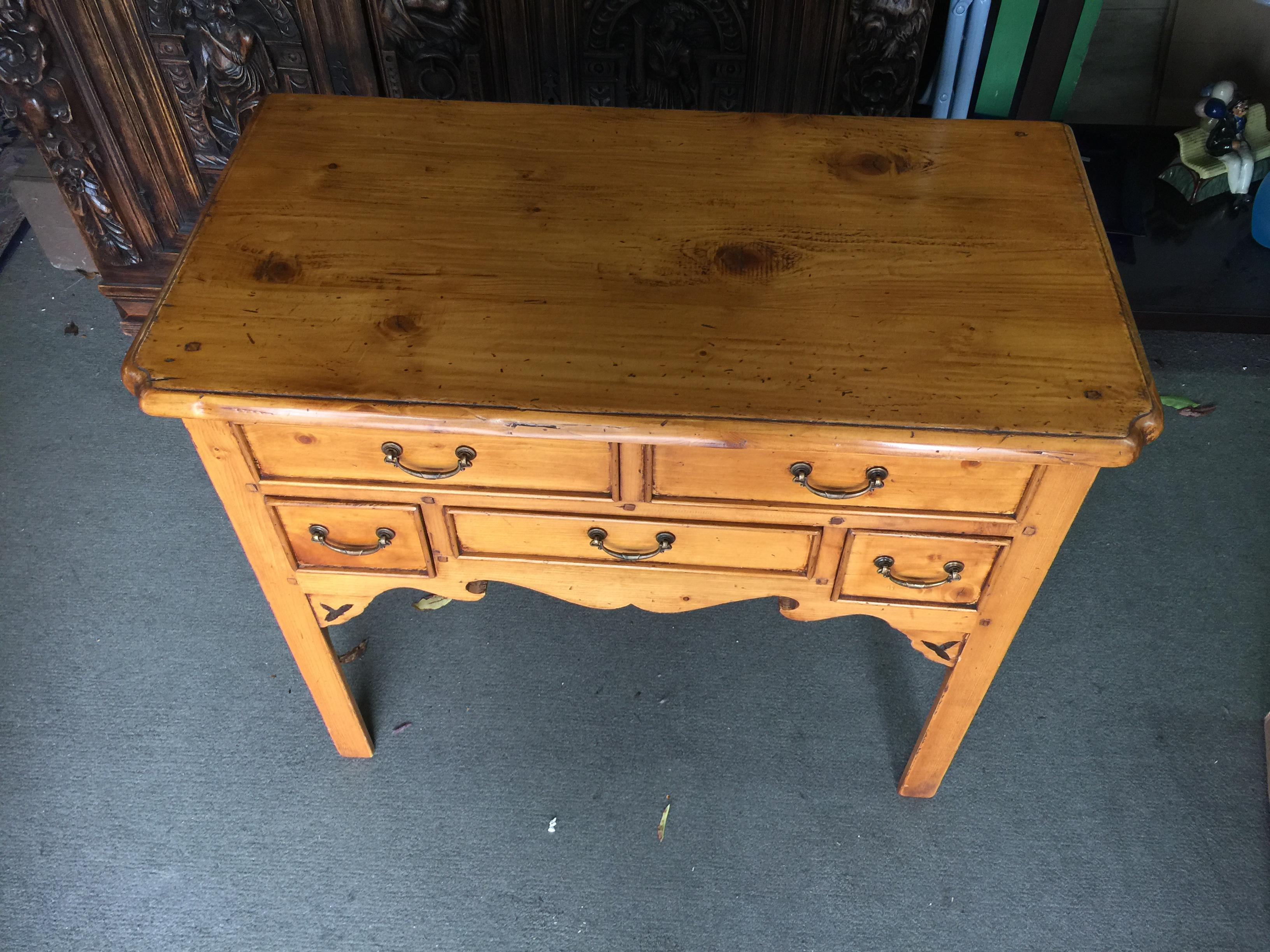 Nice French Country Side Table Made Of Pine With Pegged Details In The Top.  Excellent