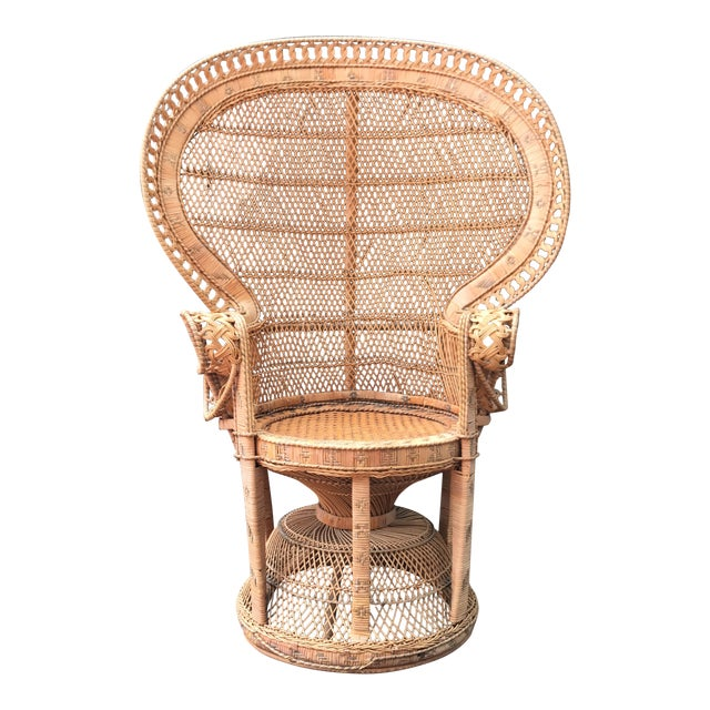 Vintage Wicker Peacock Fan Chair - Image 1 of 7