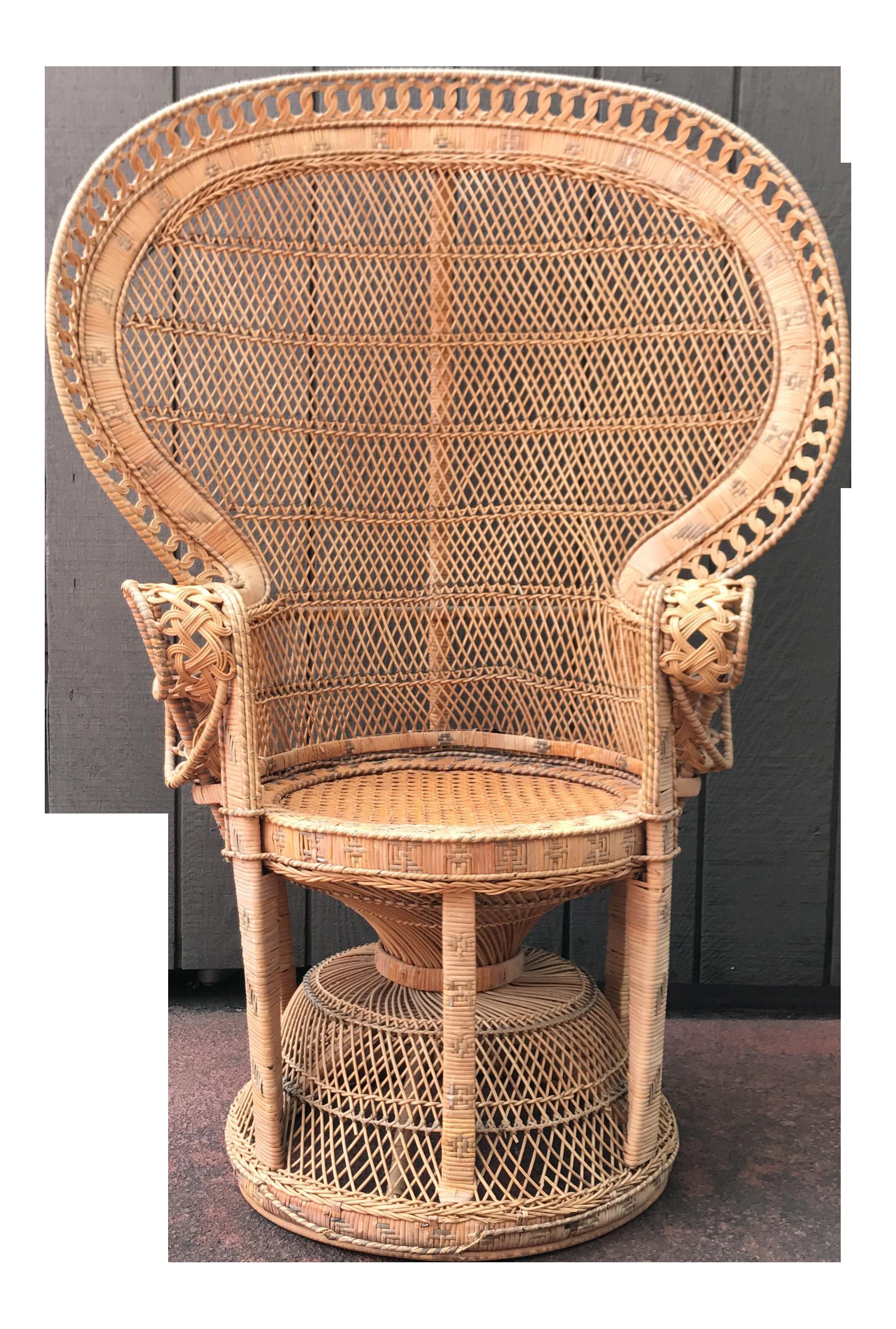Vintage Wicker Peacock Fan Chair