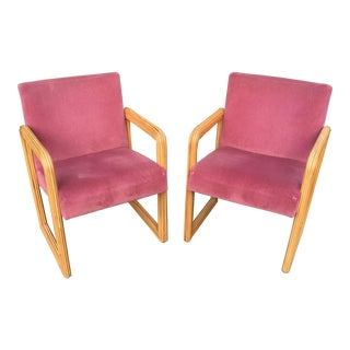 Gabriella Crespi Style Pencil Reed Velvet Chairs - a Pair