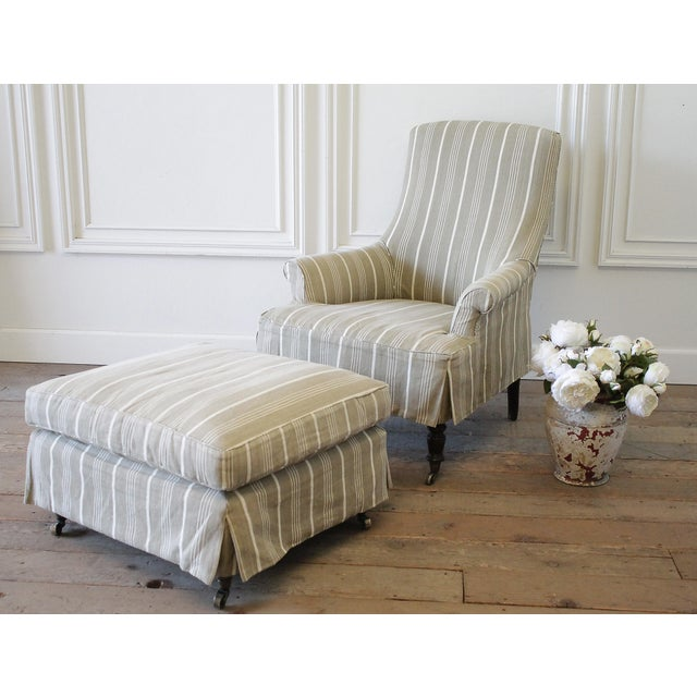 Napoleon Style Chair and Ottoman with Linen Stripe Slip Cover Custom made chair with muslin upholstery, and French Ticking...